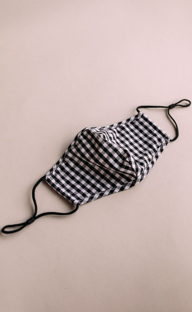 gingham face mask - black