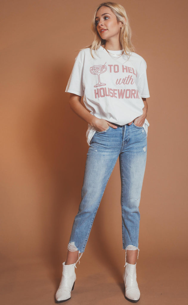 project social t: to hell with housework oversized tee
