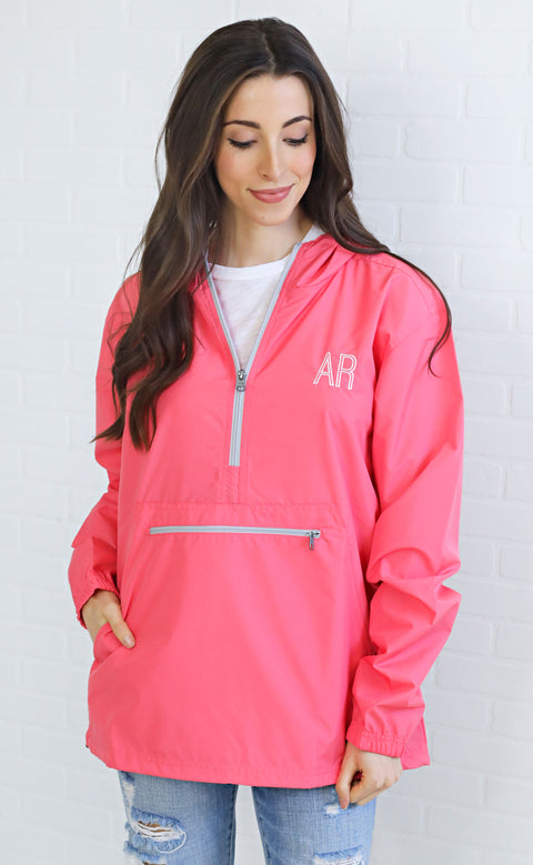charlie southern: rain jacket pullover - pink