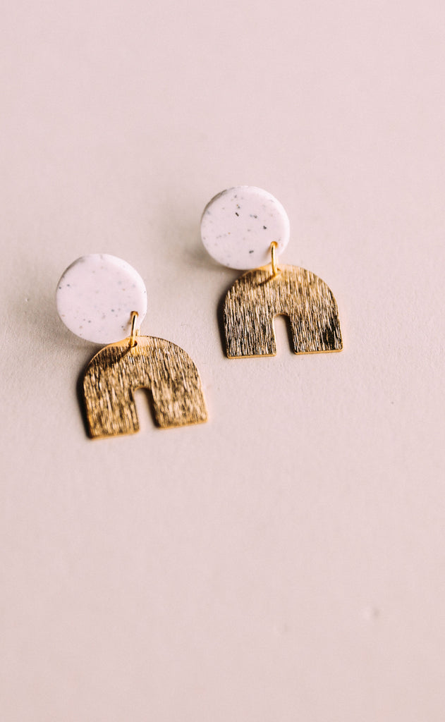 poppy dot: addi brass arch earrings