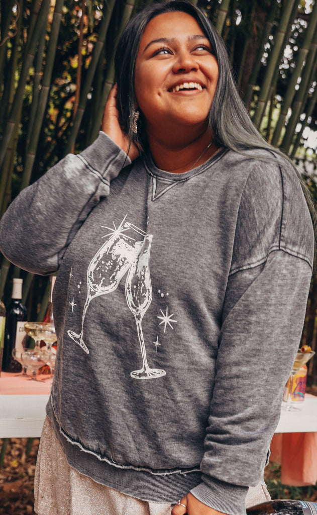 friday + saturday: champagne toast campus crew sweatshirt