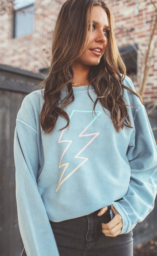 friday + saturday: lightning bolt corded sweatshirt