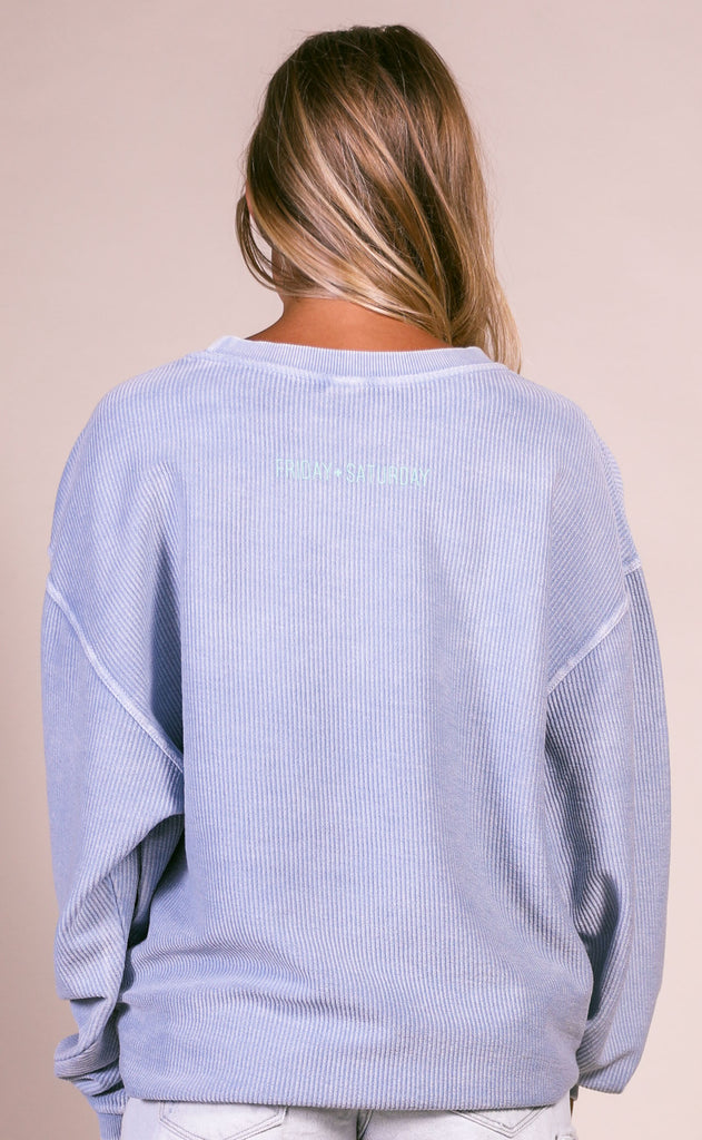 friday + saturday: big nap girl corded sweatshirt