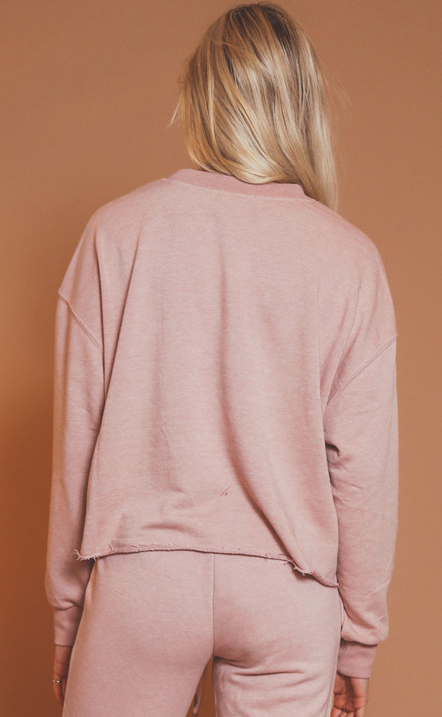 z supply: izzy loop terry top - pink blossom