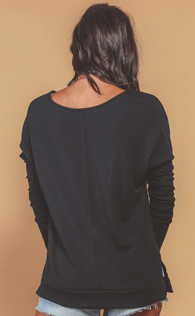 project social t: get up and go long sleeve top - black