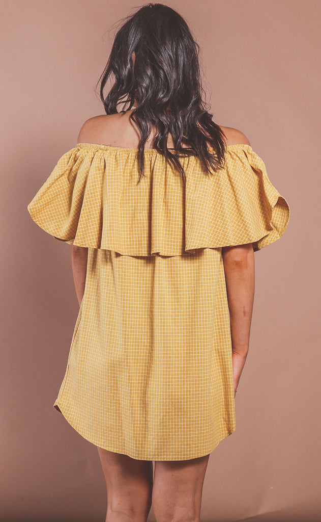 check please ruffle dress - mustard