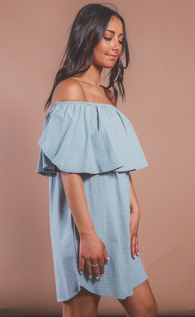 check please ruffle dress - denim