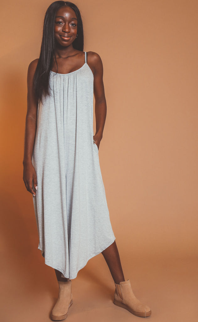 z supply: the flared jumpsuit - heather grey