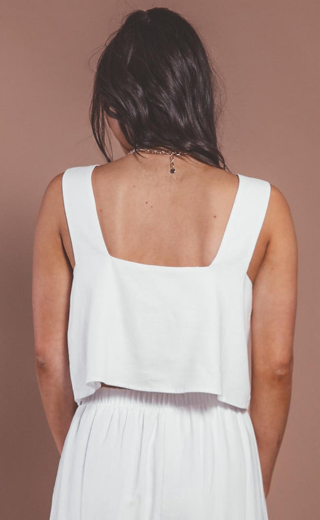 show me your mumu: tara crop top - white linen