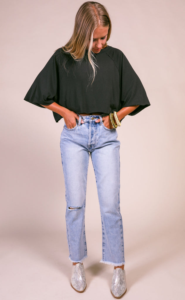 penny lane cropped tee - black