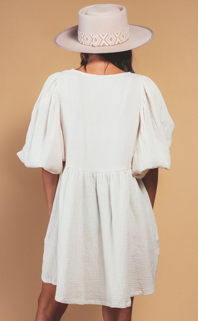casual chic babydoll dress - cream