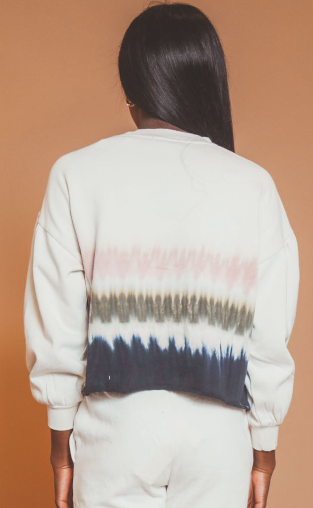 z supply: tempest stripe tie-dye crew - bone