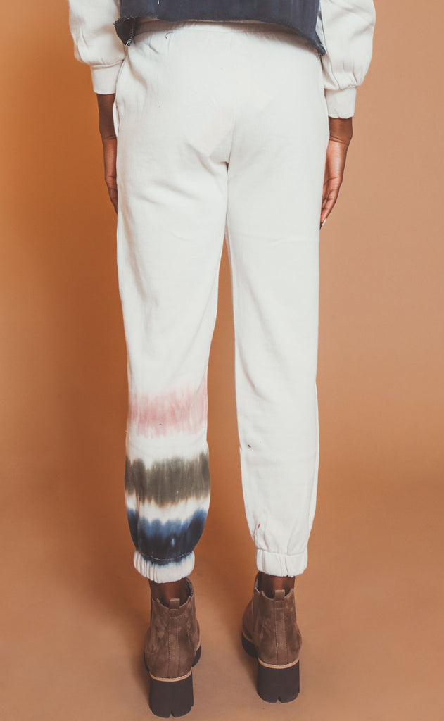 z supply: selene stripe tie dye jogger - bone