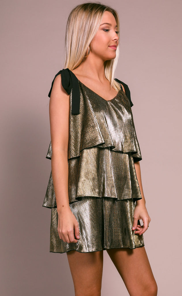 show me your mumu: suarez tie dress - pleated gold