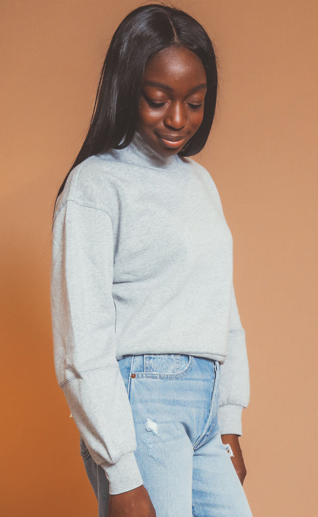 z supply: skylar mock neck pullover - heather grey