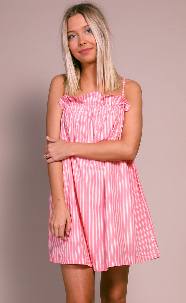 buddy love: treasure dress - coral stripe