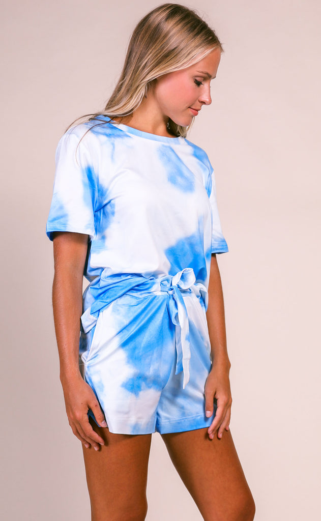 everyday lounging tie dye two piece set - blue/white