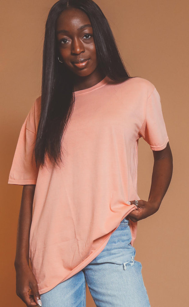 project social t: asher oversized tee - peach glow