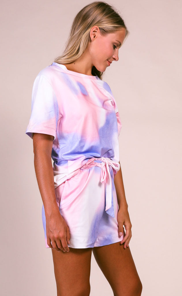 everyday lounging tie dye two piece set - pink/purple