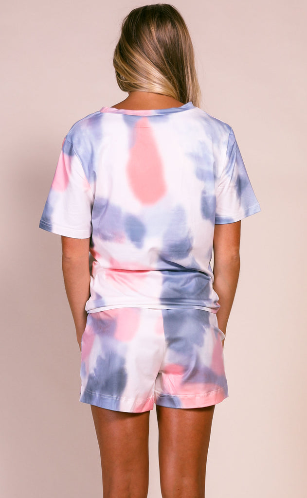 everyday lounging tie dye two piece set - pink/grey