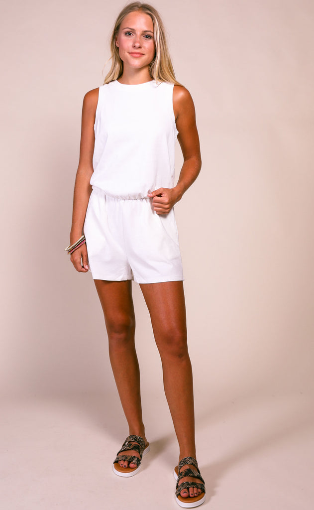 z supply: the adira cotton romper - desert white