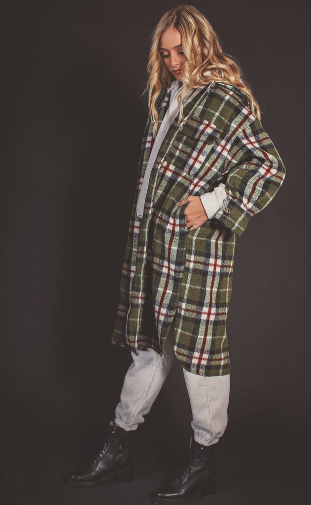 evergreen plaid flannel coat