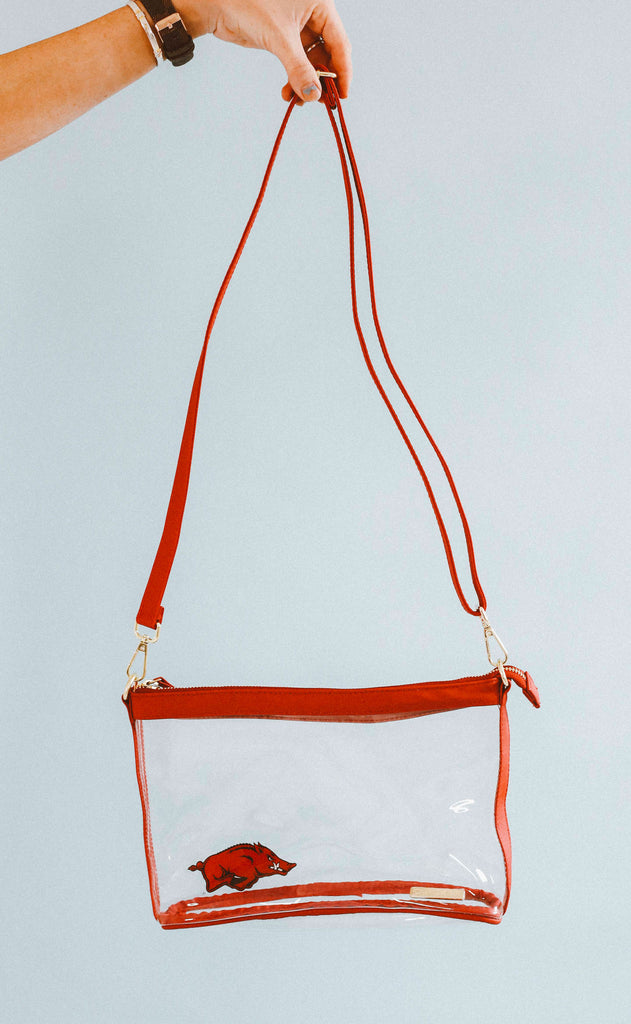 gameday large crossbody - red with razorback
