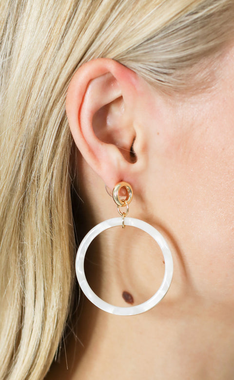double trouble hoop earrings - ivory