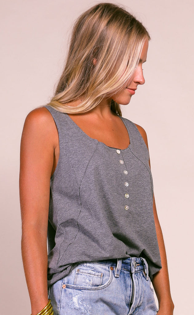 casually cool button up tank - grey