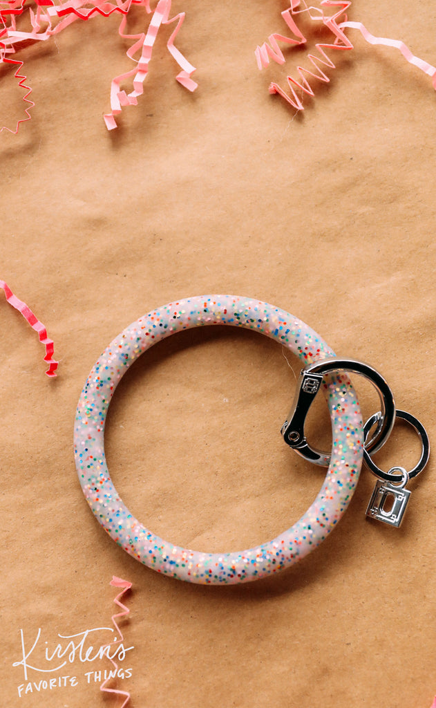 oventure: big o silicone key ring - rainbow confetti