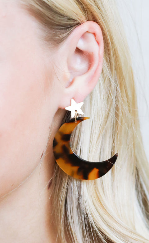 outer space statement earrings - gold/brown