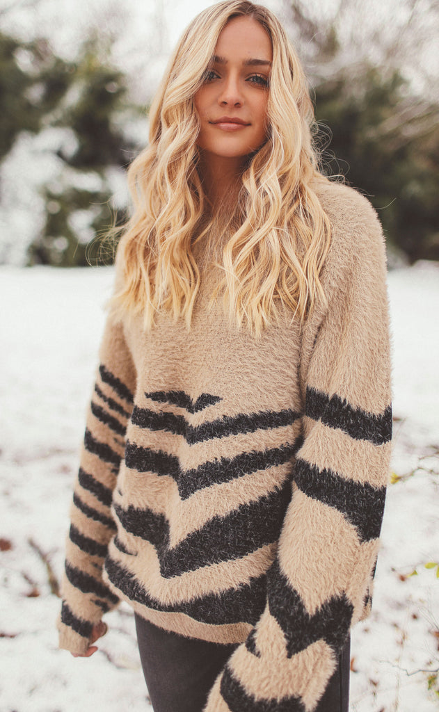 walk on the wild side knit sweater - khaki