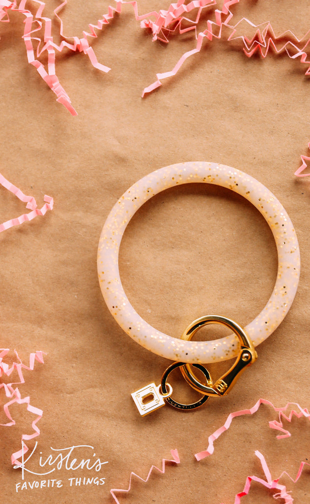 oventure: big o silicone key ring - gold confetti