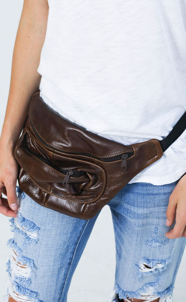 vintage love fanny pack - medium brown