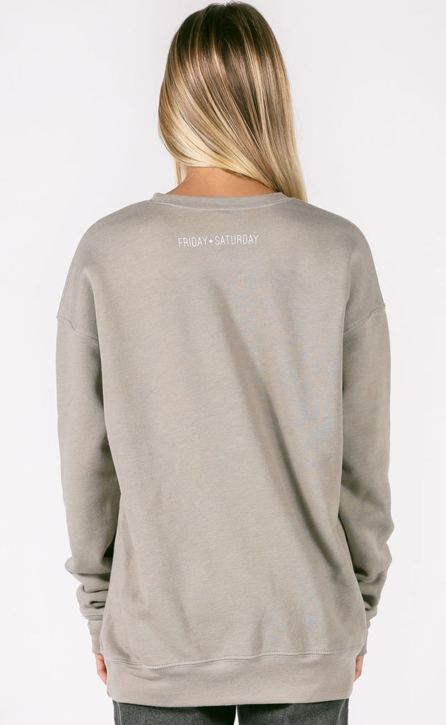 friday + saturday: big nap girl sweatshirt - stone