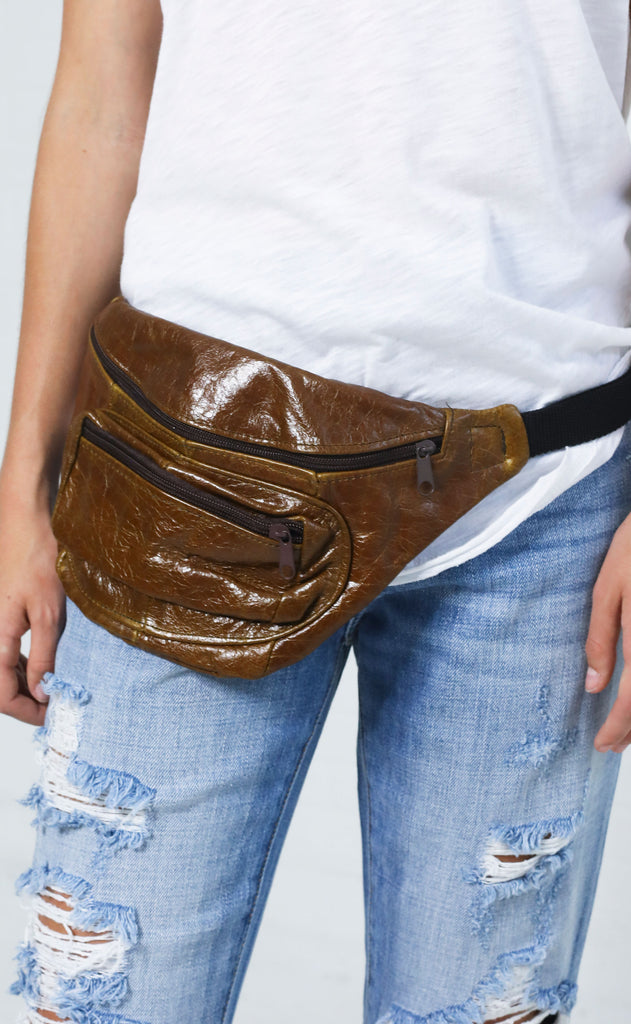 vintage love fanny pack - distressed brown