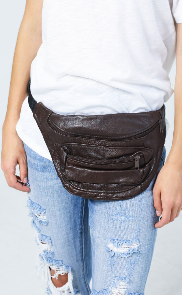 vintage love fanny pack - dark brown