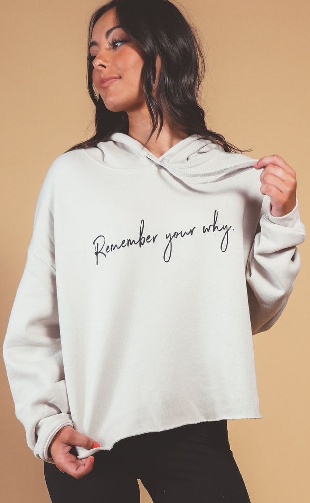 know purpose: remember your why crop sweatshirt