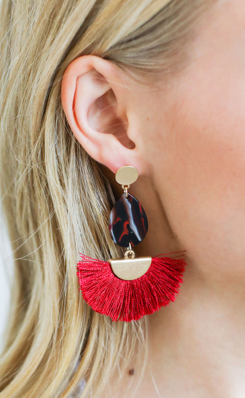 fanfare statement earrings - burgundy