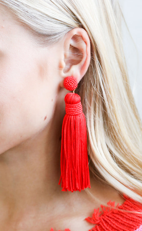 classic tassel earrings - red