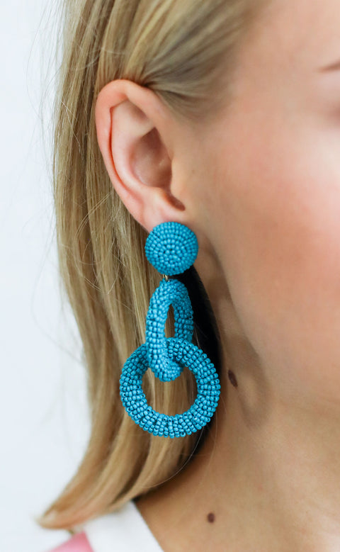 linked up beaded earrings - dark teal