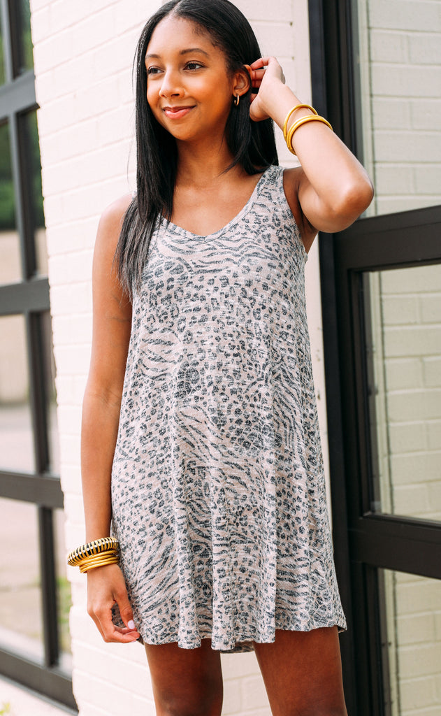 z supply: breezy animal dress - sand