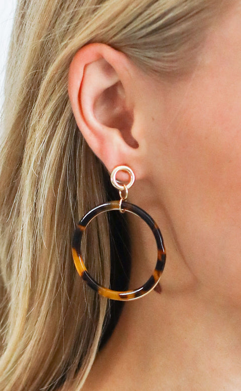 double trouble hoop earrings - brown
