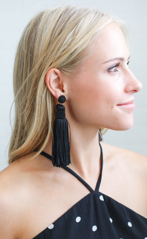 classic tassel earrings - black