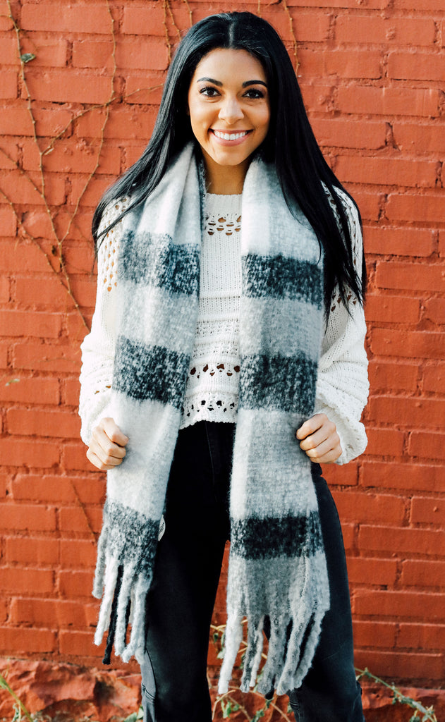 scotland plaid scarf - white/black