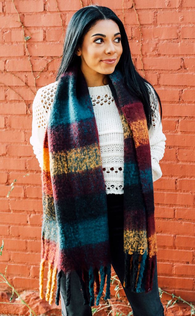 scotland plaid scarf - navy/burgundy
