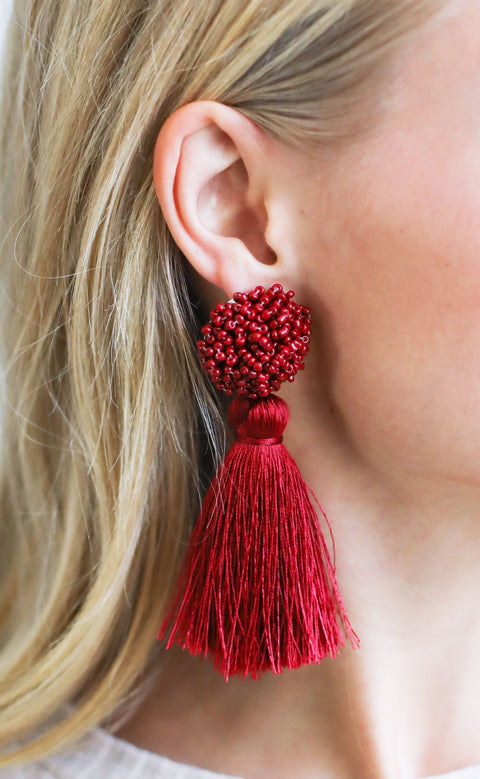 beaded tassel statement earrings - burgundy