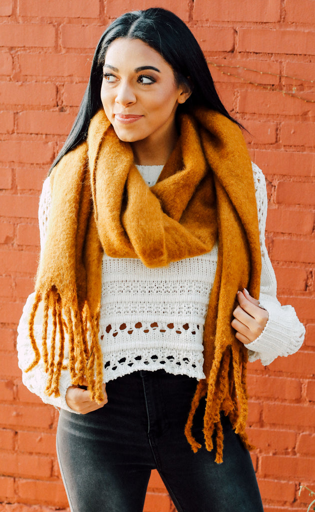 anchorage knit scarf - mustard