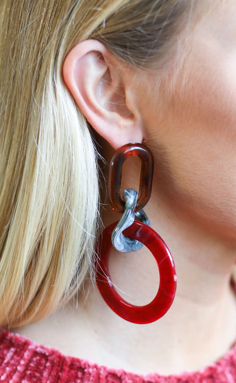 geometric girl statement earrings - red multi