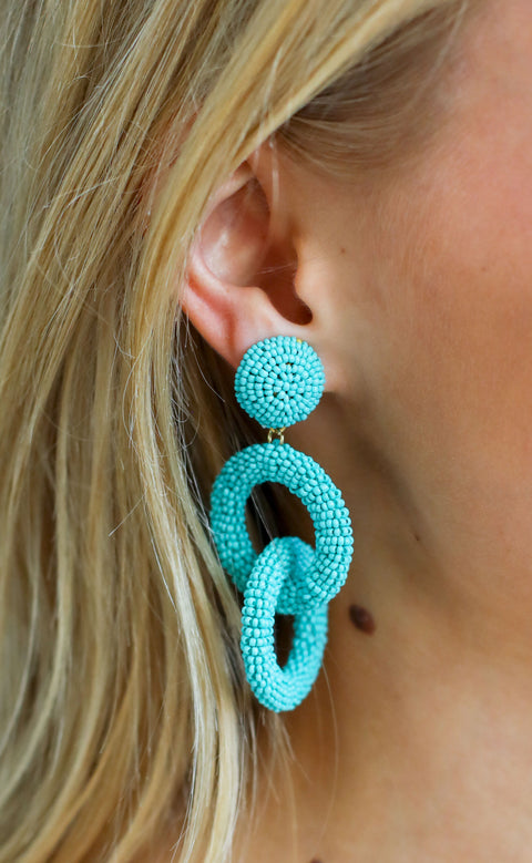 linked up beaded earrings - turquoise